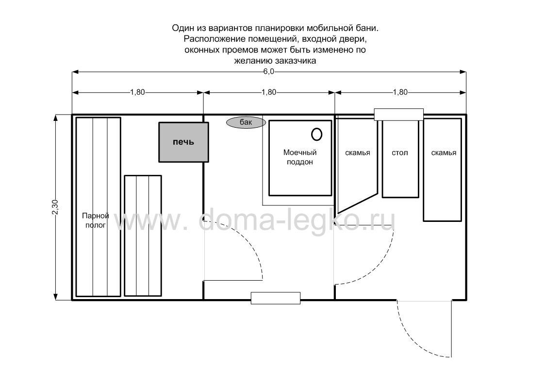 схема внутреннего помещения сруба бани 3 на 4