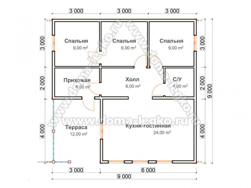 Проект одноэтажного дома до 100 квадратов