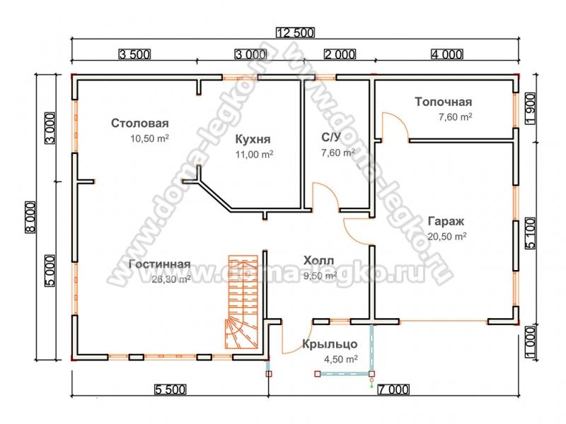 Проект загородного дома с гаражом 130м2