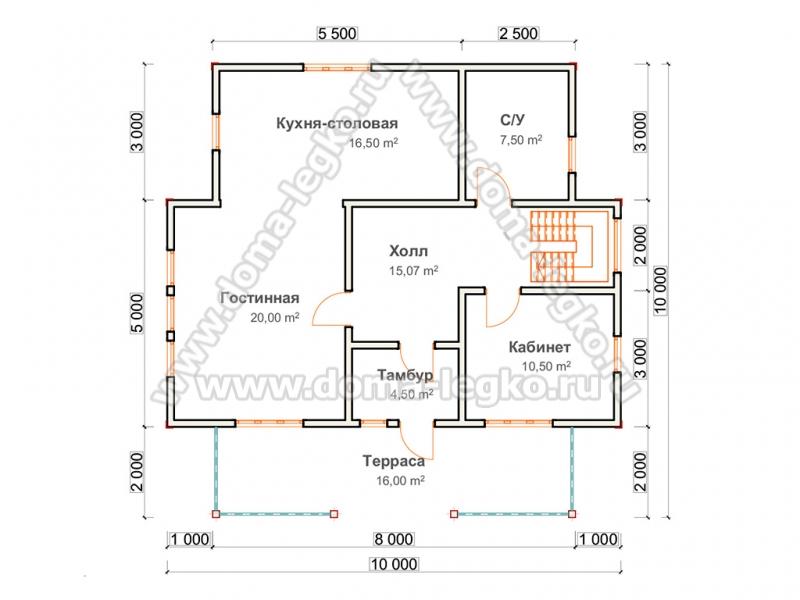 Проект Большой удобный дом 10 на 10