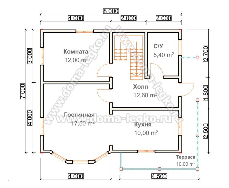 проект небольшой дом с эркером и террасой
