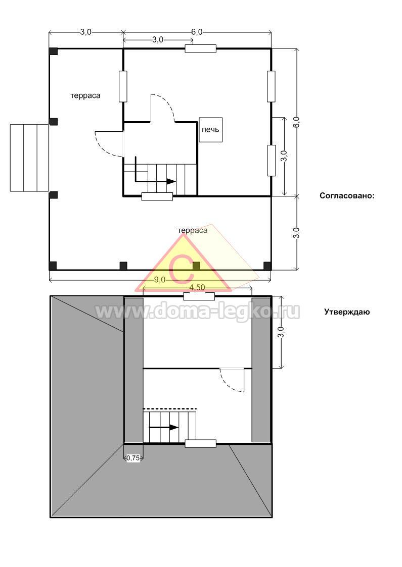 план дачного дома с террасой
