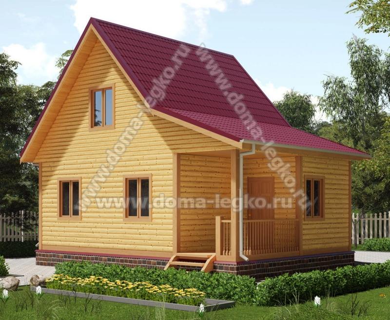 Дом из бруса 6х8 67м2 с верандой