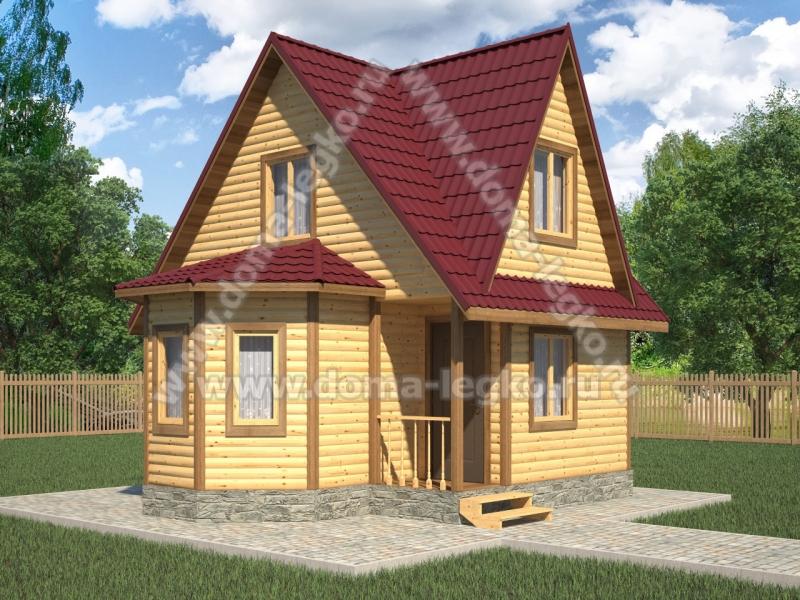 дом 6на6 с тремя фронтонами и эркером