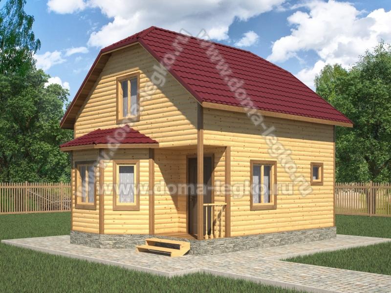 Дачный дом в полтора этажа 6х6м