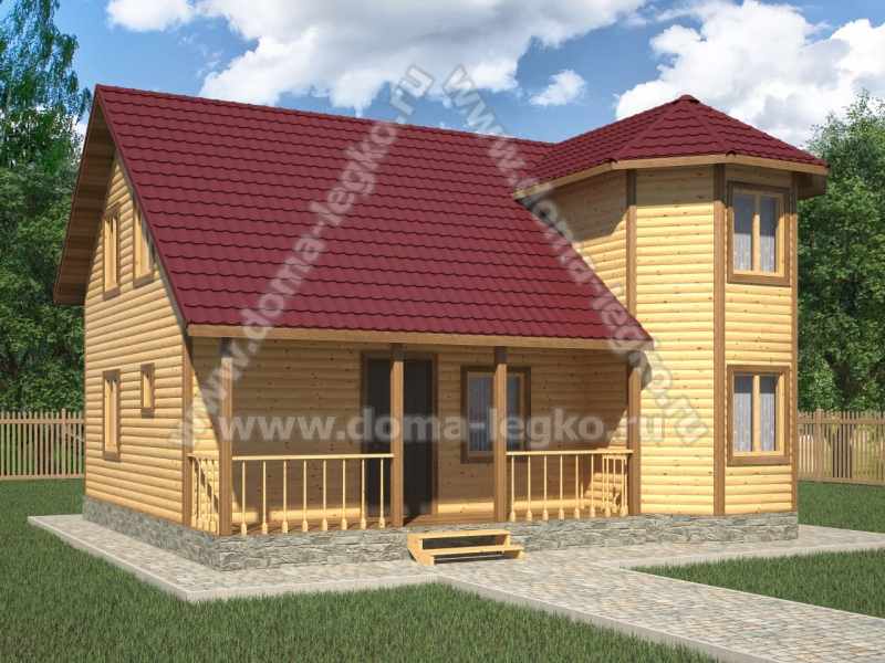 Уютный дом 8х9м полтора этажа
